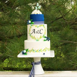 Watercolor wreath wedding cake