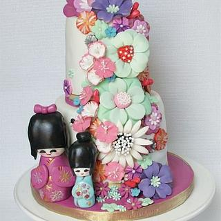 Sweet 16 Japanese doll and fantasy floral theme - Cake by milissweets