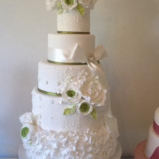 White and Green four tier wedding cake