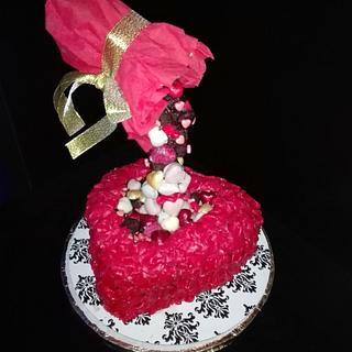 Anti gravity heart cake