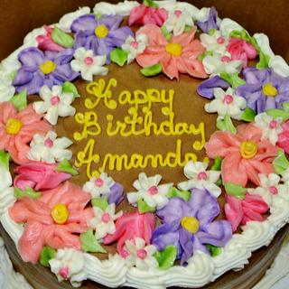 Chocolate cake with pastel flowers