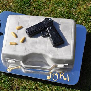 Suitcase with gun