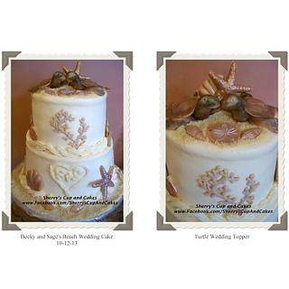 Beach Wedding Cake with Turtle Topper