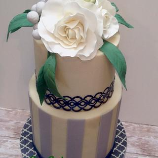 Navy and white wedding - Cake by CopCakes