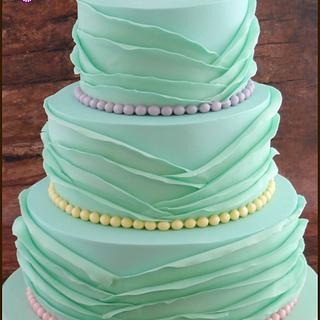 Mint Ruffle Wedding Cake - Cake by BakedbyBeth