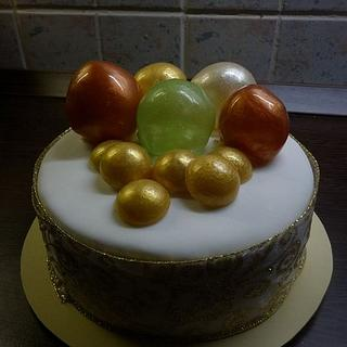 A cake for Chritsmas with gelatine bubbles.