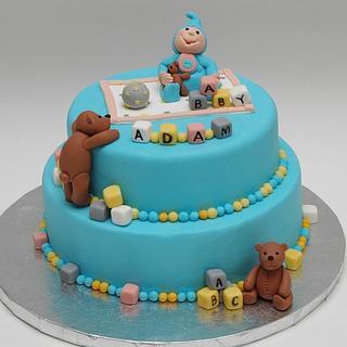 Baby Adam's Shower Cake