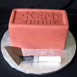 Terracotta brick groom's cake with trowel