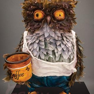 "3D Owl cake ""out of coffee"""