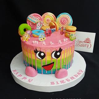Shopkins striped buttercream birthday cake