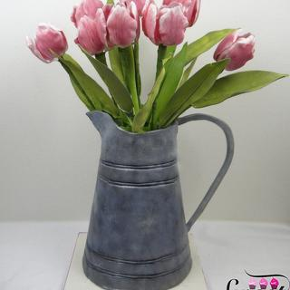 My birthday cake :) , a spring bouquet of tulips in an a galvanized vase