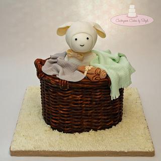 Little Lamb in a Wicker Basket