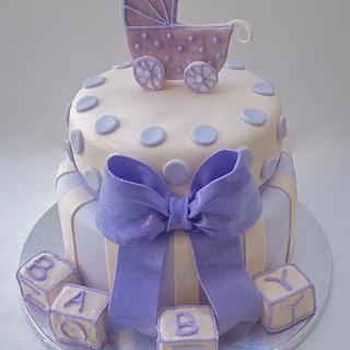 Lavender and Cream Baby Shower Cake - Cake by Mimi's Sweet Shoppe Amanda Burgess