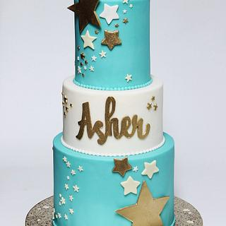 Soft Teal 'Star' Baby Shower Cake