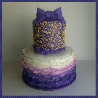 Purple w/Gold Ruffle Cake