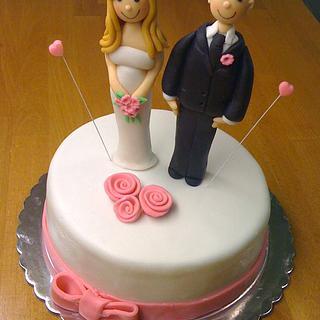 Ribbon roses wedding cake & cupcakes