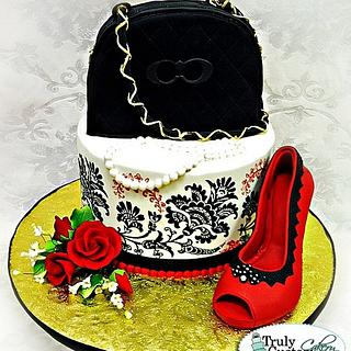 Red and Black Shoe and Purse Cake