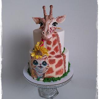 Giraffe and cat :)  - Cake by Zuzana Kmecova