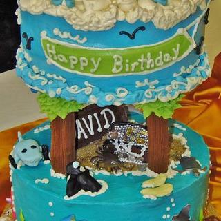 Diver / shark /plane /ocean cake