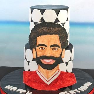 Mohamed Salah free hand painting cake⚽