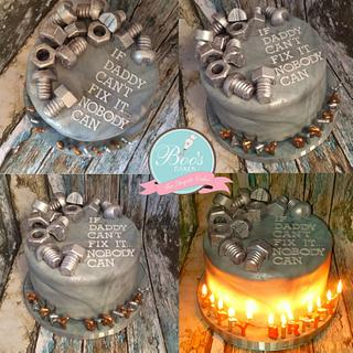 Manly Nuts & Bolts birthday cake