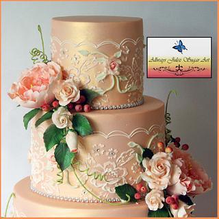 """Peach Blush, Lace & Roses""  - Cake by Allways Julez"