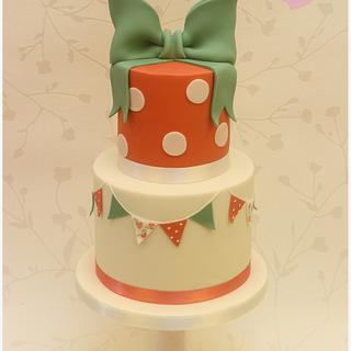 Dessert stand in coral and sage - Cake by CakesWorth