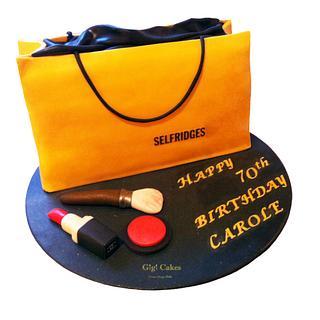 Selfridges Shopping Bag and Makeup Cake - Cake by Gigi Cakes - Dream, Design, Bake
