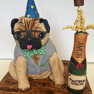 Customised Cake for a Pug And champagne Lover