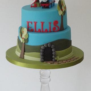 simple and elegant thomas the tank engine two tier birthday cake - Cake by Krumblies Wedding Cakes