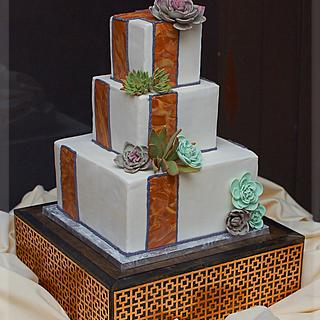Square Craftsman Inspired Wedding Cake with Succulents