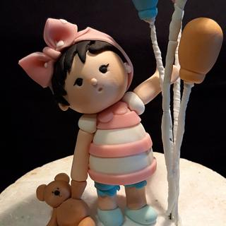 Little Girl with Baloons Cake topper