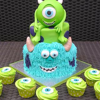 Monsters Inc. cake & cupcakes - Cake by Mond vol taart