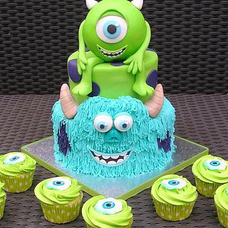 Monsters Inc. cake & cupcakes
