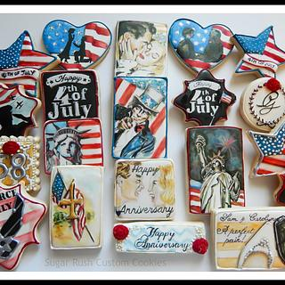4th of July Wedding Anniversary Cookies