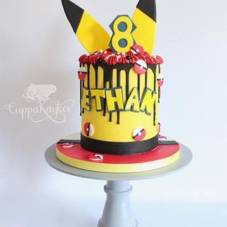 Pokemon themed ganache drip cake