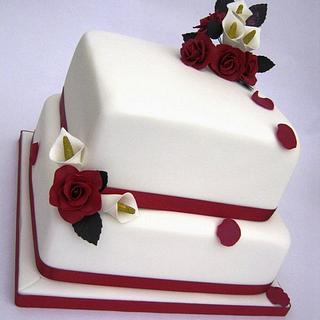 2 Tier Square Roses & Lily Wedding Cake