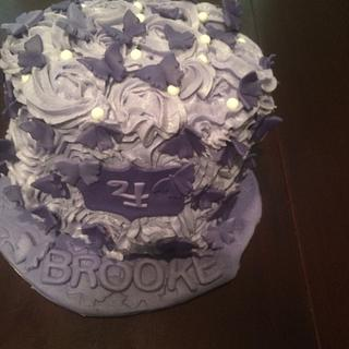 Purple rosette butterfly cake - Cake by Cakes by Crissy