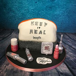 Benefit make up bag cake