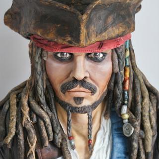Sugar Pirates - Jack Sparrow sculpted cake  - Cake by Nicola Gerrans