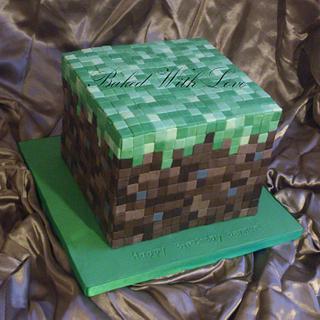 Minecraft Grass Block - Cake by bakedwithloveonline