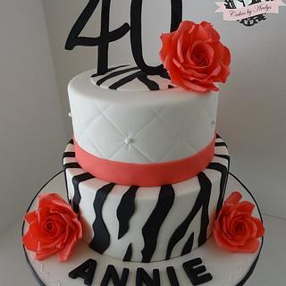 Zebra and Roses 40th Birthday cake