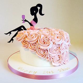 Lady silhouette buttercream dress cake - Cake by Angel Cake Design