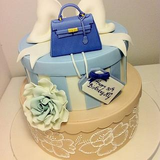 Hat box cake with Kelly bag