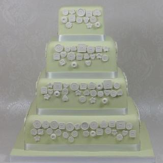 Buttons Green Square Wedding Cake