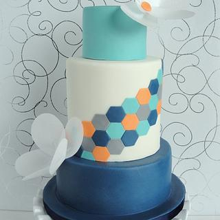 Hexagon Design with Wafer Paper Flowers