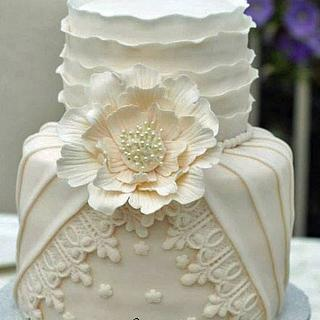 Pleated, Ruffled Couture wedding cake