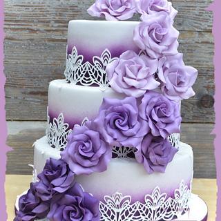Wedding cake in purple