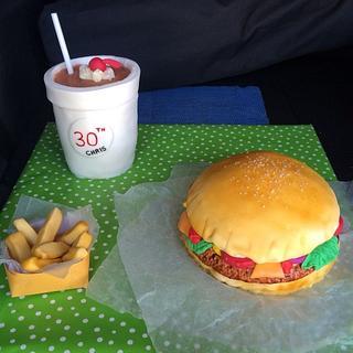 Burger, fries and a milkshake