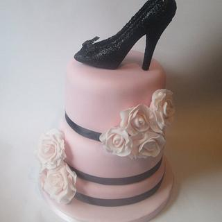fifties inspired high heel and roses birthday cake